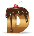 Cake letter D- birthday font vector image