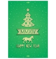 Christmas greeting card with symbols of 2014 year vector image