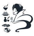 girl with traditional food vector image