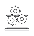 Isolated laptop with gears design vector image