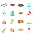 Argentina travel icons set cartoon style vector image