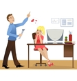 Love story at work vector image vector image