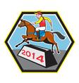 Year of Horse 2014 Jockey Jumping Cartoon vector image