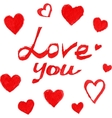Red marker love sign with hearts vector image