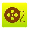 film circular sign brown icon at green vector image