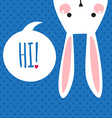 Greeting card with funny bunny Easter Bunny Ears vector image
