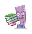 student with book ruler character cartoon style vector image