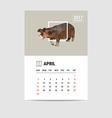 2017 April calendar Hippopotamus polygon vector image