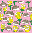 colorful seamless pattern with roses and hedgehogs vector image