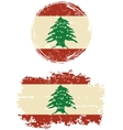 Lebanese round and square grunge flags vector image