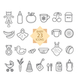 Set of Line Icons Toys Food Eat Crockery vector image