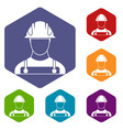 builder icons set vector image