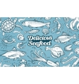 Hand drawn sketch seafood vector image
