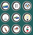 Business icons set flat style over silver backgrou vector image