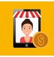 woman online market money vector image