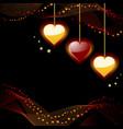 glowing hearts vector image vector image