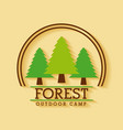 forest outdoor camp adventure land tree badge vector image