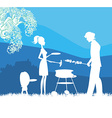Happy family with barbecue outdoors vector image vector image