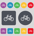 Bicycle icon sign A set of 12 colored buttons Flat vector image