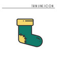 christmas socks thin line icon new year vector image