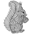 Hand drawn funny squirrel with nut for adult anti vector image