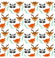 set cute animals head background design vector image