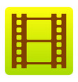 Reel of film sign brown icon at green vector image