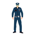 policeman flat icon service 911 cartoon vector image