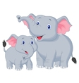 Mother and baby elephant cartoon vector image vector image