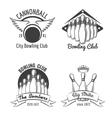 Bowling club emblem set vector image