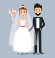 beautiful young bride and groom couple holding vector image