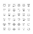 black thin line emoji faces vector image