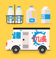 dairy milk delivery service and milk bottles vector image