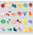 fruit theme color simple stickers icons set eps10 vector image