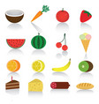 icons set of different ripe fruits and berries vector image