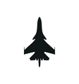 simple black military airplane icon on white vector image