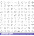 100 kids icons set outline style vector image