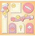 Set of decorative design elements with kawaii food vector image