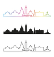 Messina skyline linear style with rainbow vector image