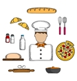 Baker icons with bakery and ingredients vector image