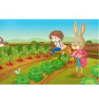 Bunny and boy in the garden vector image