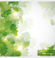 abstract shiny background with green oak leaves vector image