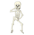 cartoon funny human skeleton dancing vector image