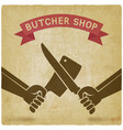 crossed butcher knives old background vector image