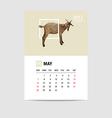 2017 May calendar goat polygon vector image