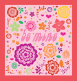 floral ornamental valentine greeting card vector image