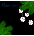 Baseball balls on Christmas tree branch vector image