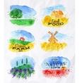Watercolor landscapes symbols vector image vector image