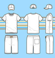 Mens t-shirt cap and swim shorts set vector image