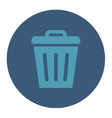 Trash Can flat cyan and blue colors round button vector image